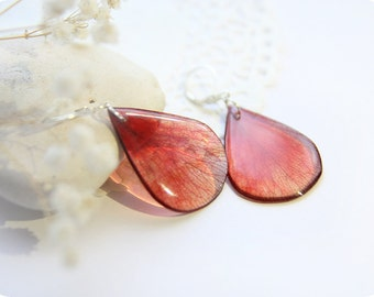 Red petal earrings for girl Birthday gift for niece like real rose petal Flower jewelry nature earrings resin jewelry Blooming party gift