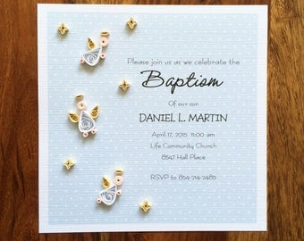 12 Invitations Baptism, First Communion Invitations, Christening Invitations, Personalized Quilling Art, Quilling Angels Invitations