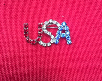 USA Crystal Brooch Pin, red, white and blue crystals