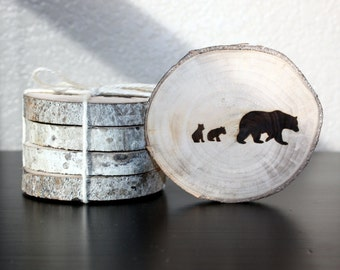 Bear with Cubs Coaster Set (4) -- aspen, handmade, gift for men, gift for women, rustic decor, bear decor, wood decor, woodland, wildlife