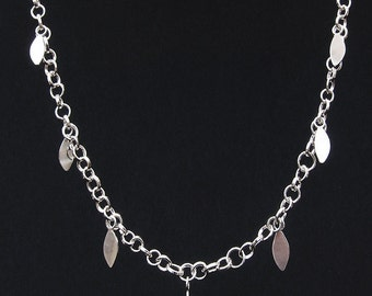 Silver Handmade Necklace with Leaves New Design