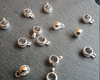 14 Bail Beads Smooth Plain Silver Plated Metal for up to 3.5mm Cord
