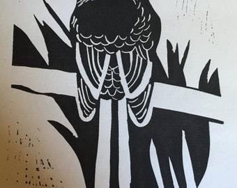 The Crow - Lino Print - Home Decor - Wall Art - Gift
