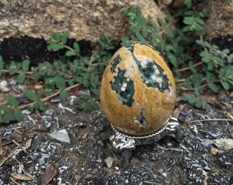 Large Ocean Jasper egg w/ Stand
