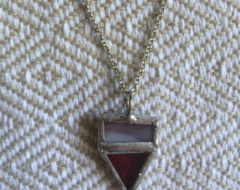 Red and Brown Stained Glass Pendant Necklace