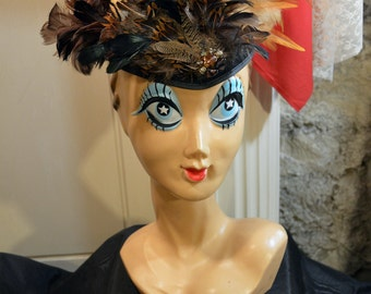 Steampunk Brown Owl Feather Black Fitted Fascinator Hat