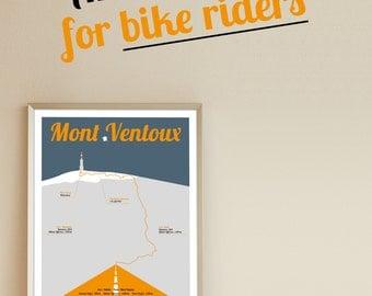 Tour de France print, Mont Ventoux, A3 Poster, bikeposter, birthdaypresent