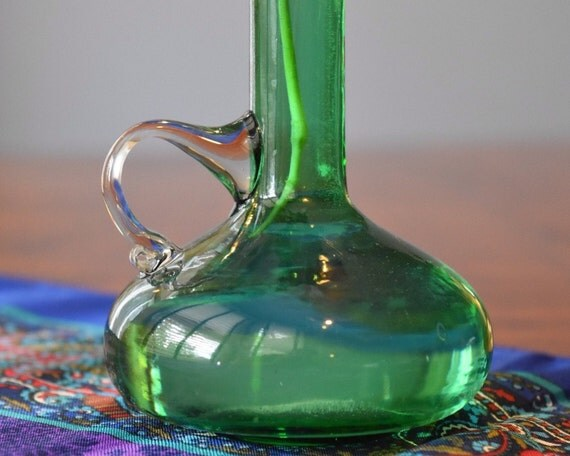 Items Similar To Art Glass Green Vase Hand Blown Bud Flower Vase With Handle Tapered Flower