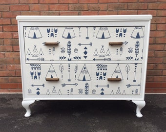 NOW SOLD Vintage Refurbished Chest of Drawers