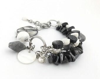 Adjustable Semiprecious Stone Bracelet, Multistrand Bracelet, Black & White, Pearl Bracelet, Layered Bracelet, Handcrafted Jewelry, 13783BA