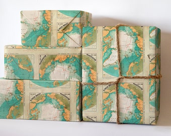 Arctic Wrapping Paper; Travel Gift Wrapping; Christmas Wrapping Paper; Gift Wrapping; Old Map Wrapping Paper; Map Wrapping Paper: Artic Map