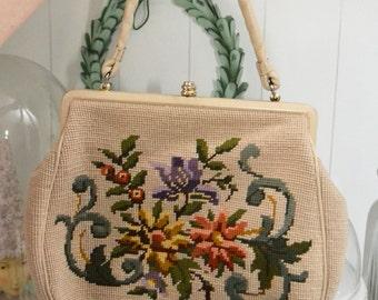 Vintage handbag 60s 70s tapestry / Petit-point embroidery original