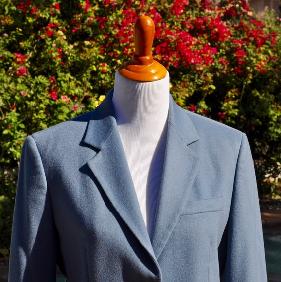 Vintage 1990s Steel Blue Max Mara Virgin Wool Women's Blazer Made in Italy Sz 10