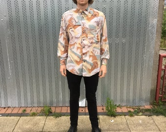 Mens Vintage Shirt. Long Sleeved Vintage. Colourful Shirt, with retro pattern. Club D'amingo. Size M. Viscose Material.