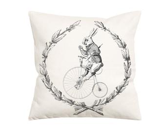 White Rabbit Vintage Style-Throw Pillow- Decorative Pillow-Throw Pillow Cover