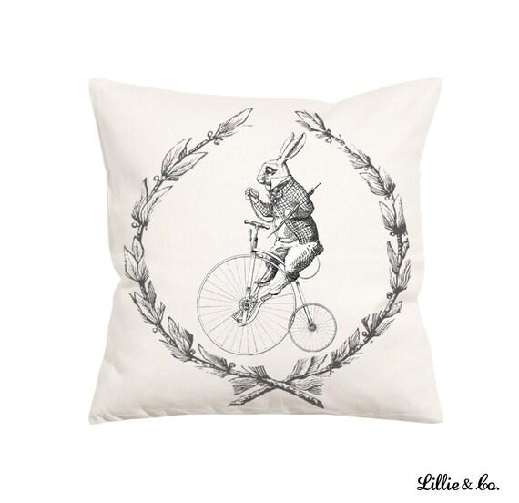 White Rabbit Vintage Style-Throw Pillow Decorative