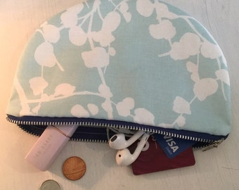 Half Moon Pouch- Blue Patterened