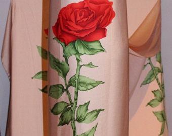 Silk fabric the yard/ wedding dress fabric/ pink floral red rose silk fabric, designer dress fabric, occasion dress material