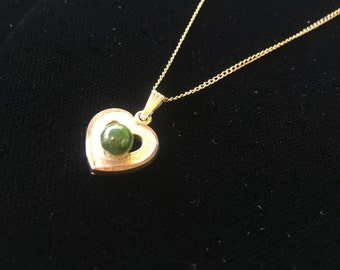 Gold Filled Heart Necklace with round Jade