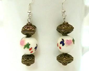 Porcelain flower dangle earrings, bronze earrings, intricate carving earrings, colorful earrings, multicolored earrings, handmade earrings