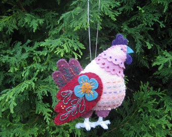 Pink Felt French Hen from Twelve Days of Christmas