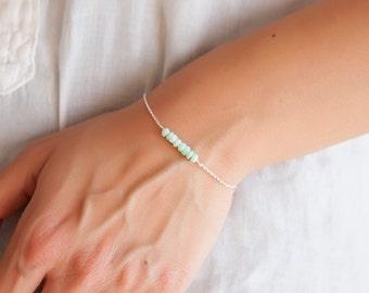Opal Bracelet, Genuine Blue Opal Bracelet, Real Opal Jewelry Peruvian Opal October Birthstone Bracelet October Birthday Jewelry Gift for Her
