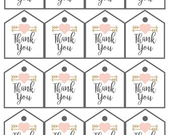 Thank You Tags PRINTABLE Pink Heart & Arrows