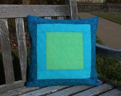 Quilted Pillow Cover, Blue Green