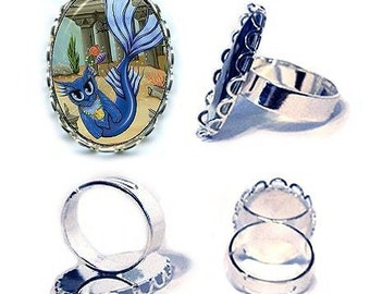 Mermaid Cat Ring Atlantis Mercat Silver Cat Ring Fantasy Cat Art Cameo Ring 25x18mm Gift for Cat Lovers Jewelry