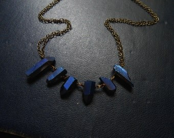 blue cosmos  -  cobalt blue titanium annondized crystal spike necklace - soft grunge inspired jewelry