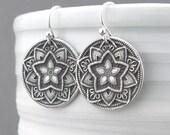 Rustic Jewelry Sterling Silver Earrings Dangle Silver Circle Earrings Bohemian Jewelry Gift for Her Under 50 Five Point Flower Earrings