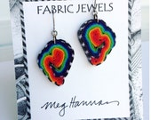 Fiber Jewelry//Rainbow Prism Earrings//millefiori artwork//PRISM SWIRL//pierced dangle post//Rainbow//black & white stripe//textile art