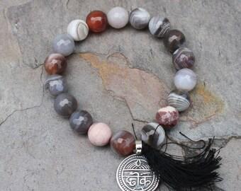 Botswana Agate Mala Bracelet Good Health Charm Sanskrit Yoga Bracelet Spiritual Bracelet