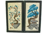 Pair Of Oriental Design Pebble Pictures