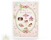Birthday card, have a sweet birthday, macarons, cupcakes, chocolate cake, patisserie, pink rose, vintage wallpaper, teacup,mint green, pink