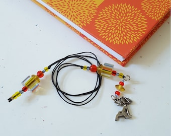 Beach Chair Beaded Bookmark/ Umbrella/ Orange And Yellow/ Summer Reading/ Glass Beaded Cord With Metal Charm/ Gift For Readers/ Book Thong