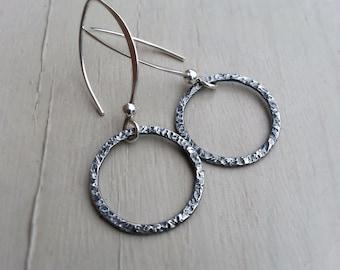 Long Hoop Earrings, Forward Facing Circle Hoop Earrings, Oxidized Sterling Silver Hoops, Textured Hoops, Rustic Boho, Casual Jewerly