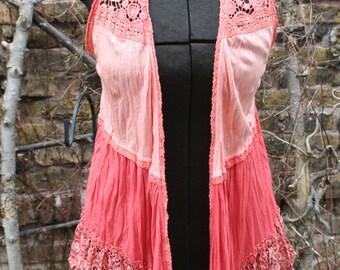 Rayon and lace vest shirt gypsy boho