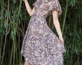 Vintage Romantic Floral Wrap Around Dress (Size Small)