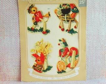 Vintage Meyercord Decal - Anthropomorphic Veggies - NOS