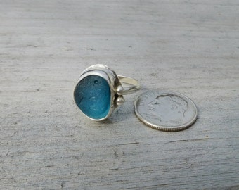 Blue/Teal English Multi Sea Glass Ring Size 6.75 Sterling Argentium 6 3/4