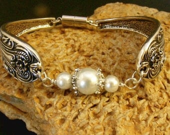 Spoon BRACELET Jewelry with Swarovski Crystal Pearls and Bali Silver, Nc2287, Magnetic clasp, Wedding, Memento, Collectable by Lynn Sra