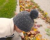 Knit Children's Hat | Grey and Yellow Knit Pom Pom Winter Hat