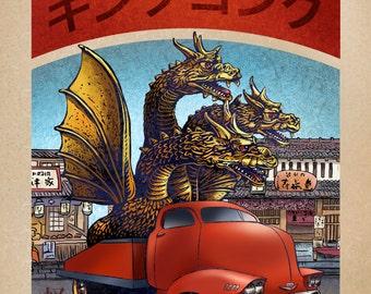 King Ghidorah Monster Truck 8 x 10  signed print- Japanese Kaiju Monster in Truck
