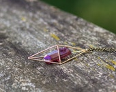 Ruby Aura Quartz Necklace / Gold Geometric Caged Crystal Necklace / Boho Gypsy Healing Quartz Point Necklace Triangular Dipyramid Necklace