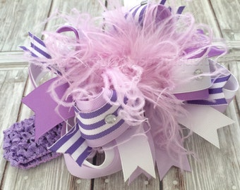 Orchid Lavender Over the Top Hair Bow or Headband,Lavender Baby Headband,Baby Bow Headbands,Big Hair Bow,Large Hair Bow,Lavender Orchid Bows