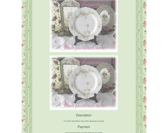 Simply Green with Posies Auction Template by Teapartys Free ship