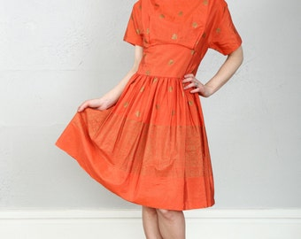 SALE- Orange & Gold Dress