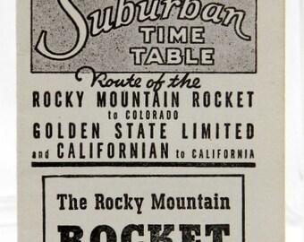 Rock Island Railroad 1942 Chicago Suburban Time Table Washington Heights June 1 Train Schedule Illinois Advertising Rocket 14195