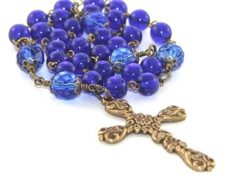 Christian Prayer Beads, Sapphire Blue & Brass Anglican / Protestant Rosary
